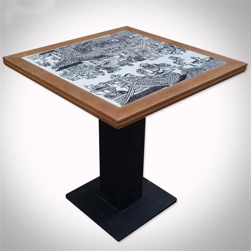 中国风古典青花瓷餐桌_酒楼饭店中餐厅实木餐饮店桌椅