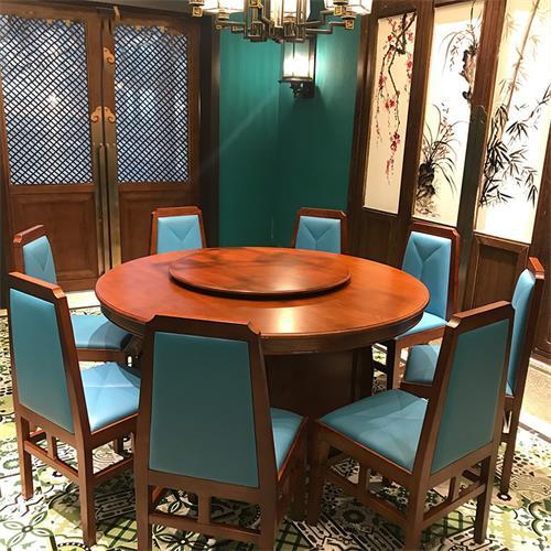 新中式中餐厅湘菜馆餐厅包厢包房实木圆桌椅