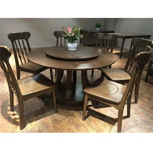 新中式酒楼宴会会所餐厅实木餐桌椅-厂家批发直销