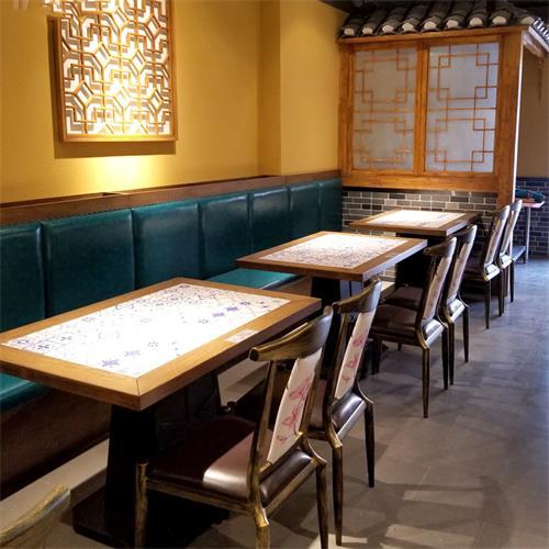 中式湘菜馆酒楼实木餐厅桌椅