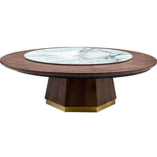 餐厅酒楼包厢大理石大圆桌椅实木新中式家具