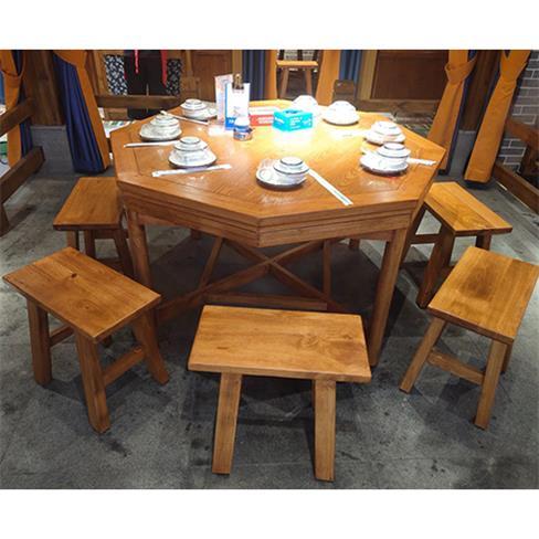 饭店酒楼中式民国风仿古原木色实木桌椅凳子