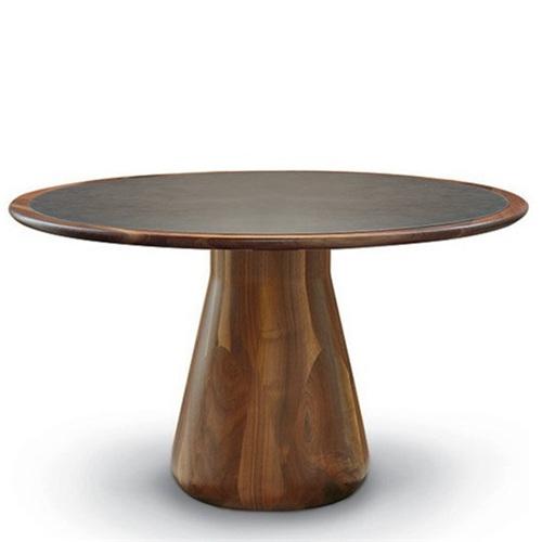 湘菜馆实木封边岩板复古实木餐桌