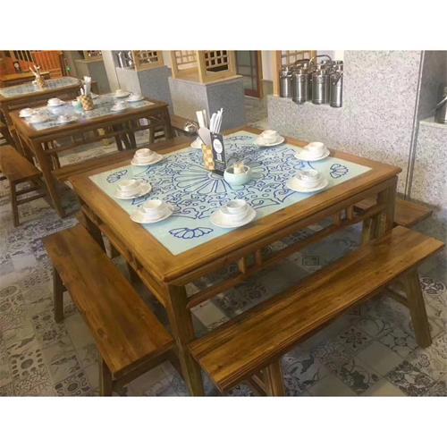 酒楼餐馆湘菜川菜餐厅时尚地方菜中式实木镶嵌大理石餐桌