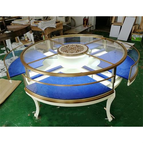 翡翠玉石不锈钢珠宝柜台_不锈钢钛金圆形展柜