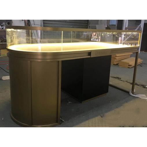玉器高档不锈钢展示柜_半椭圆珠宝展示柜