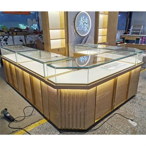 不锈钢翡翠玉石珠宝柜台_珠宝翡翠高档玻璃展柜