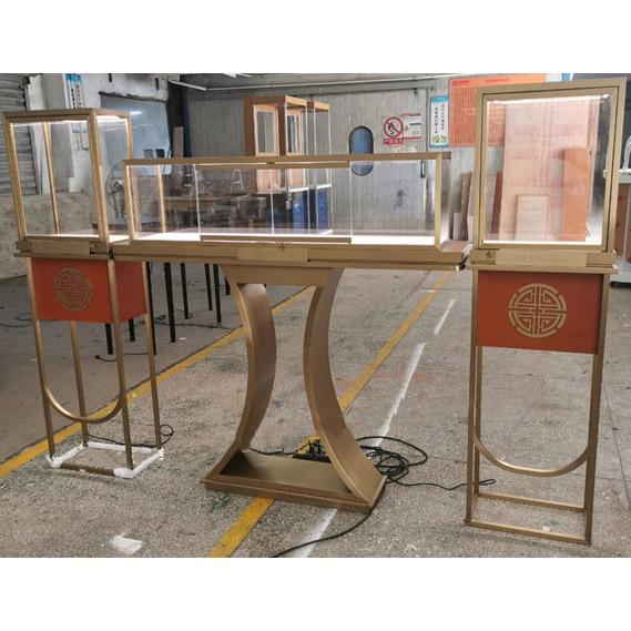 黄金饰品柜台展示柜_翡翠玉石不锈钢玻璃展柜