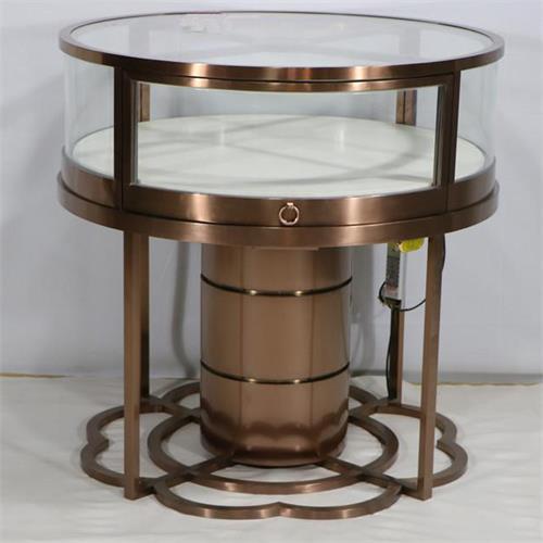 珠宝店周大福不锈钢玻璃圆形柜台-高端珠宝展柜厂