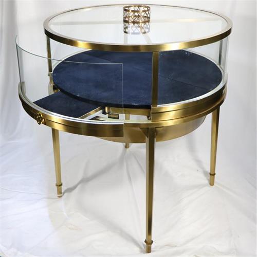宝石翡翠玉石高端饰品不锈钢圆形玻璃展柜
