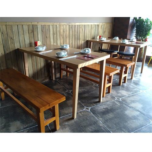 酒楼中式仿古餐桌_主题特色湘菜餐厅实木桌椅厂家批发直销