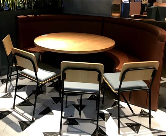 特色酒楼主题餐厅桌椅_饭店湘菜馆包厢圆形实木桌椅