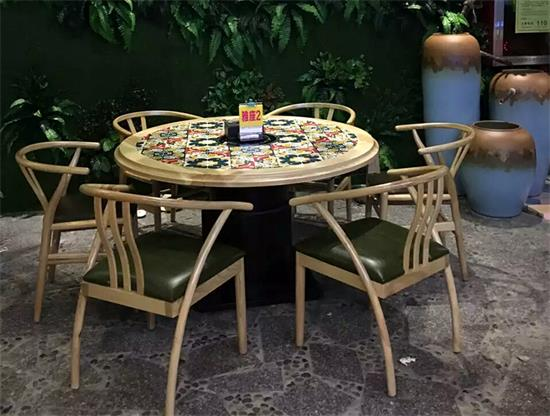 主题餐厅桌椅实木时尚花纹湘菜馆yabo娱乐 椅