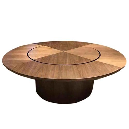主题餐厅中式实木带转盘包间大圆桌