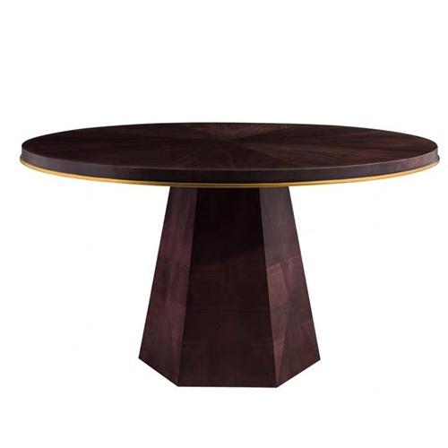 粤菜主题餐厅新中式实木圆餐桌