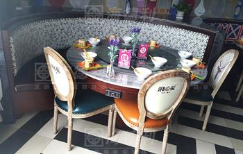 主题餐厅实木大理石台面餐桌椅-厂家实力定制