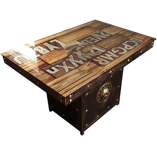 古典工业定制印刷_个性主题餐厅_黑色五金 铜钉围边老工业风餐