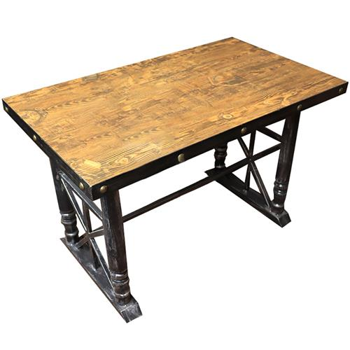 铁艺餐桌 实木方形餐桌面 五金铁艺包边 铜钉围边 厚重五金餐桌