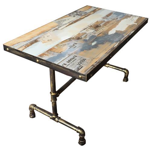 管艺水管餐桌工业风实木胡花纹餐桌 个性主题餐厅餐桌