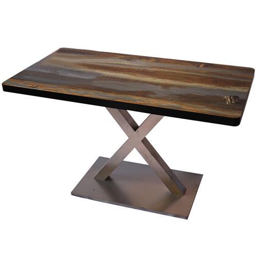黑色围边实木餐桌_定制桌面印花磨砂不锈钢底座工业风餐桌