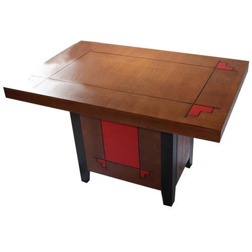 复古风格方形实木餐桌_红色祥云雕花实木方脚黑色边脚桶