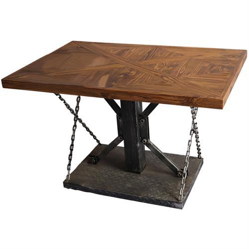 长方形工业铁艺_实木桌面米子结构餐桌_锁链拉桌_五金工业铁板