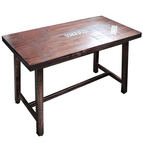 实木古铜色工业复古餐桌_厚重铁管桌脚铜钉贴破包边餐桌