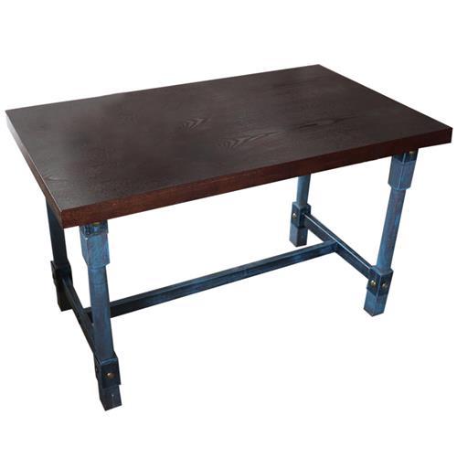 工业仿古风五金铁柱桌脚个性餐桌_实木方形做旧餐桌