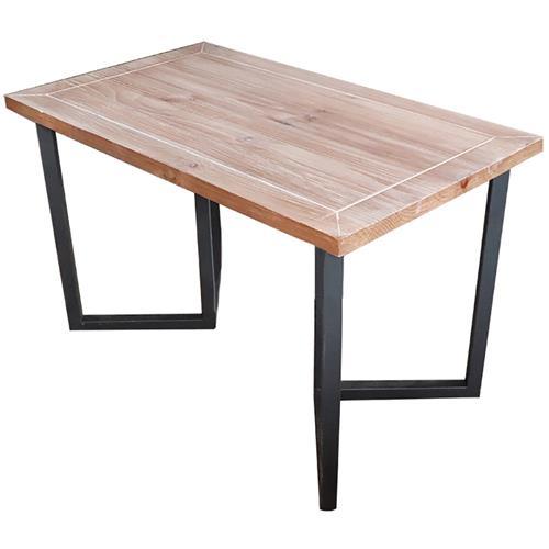 工业简约风实木加厚桌面面板_黑色磨砂五金简约五金桌脚
