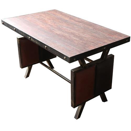 仿古五金防火板桌面_五金铁钉围边_厚实铁板特色工业风餐桌
