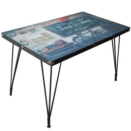 工业复古主题餐厅餐桌_五金铜钉围边钢筋方桌